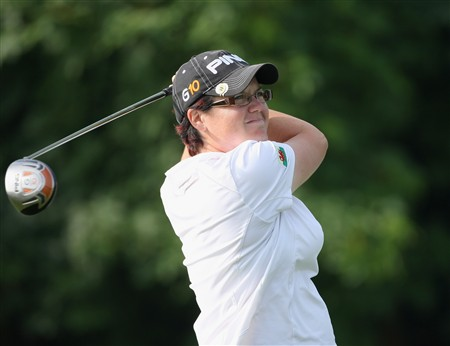 MUNICH, GERMANY - MAY 30:  Becky Brewerton of England plays her tee shot on the second hole during the second round of the Hypo Vereinsbank Ladies German Open Golf at Golfpark Gut Hausern on May 30, 2008 near Munich, Germany.  (Photo by Stuart Franklin/Bongarts/Getty Images)