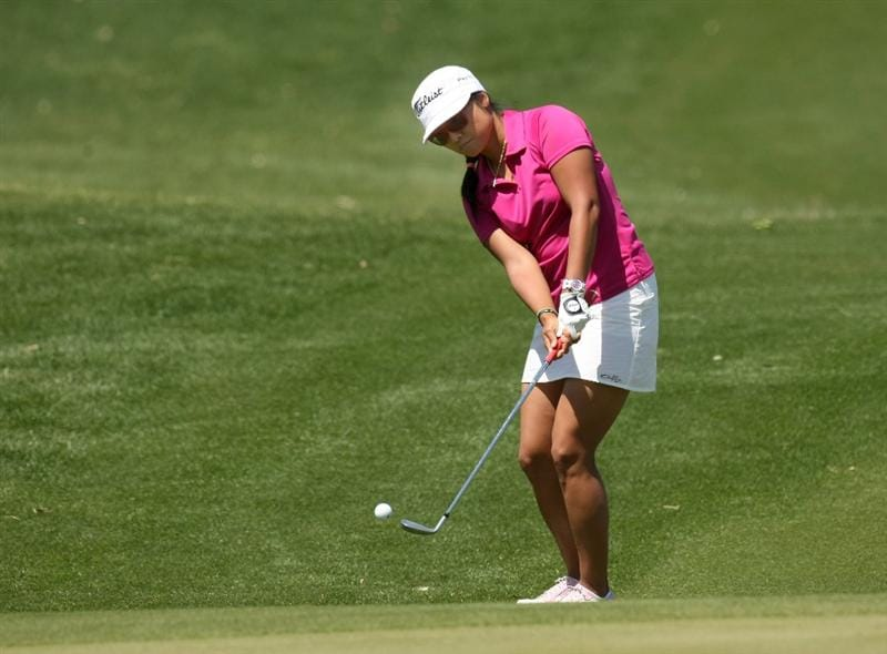RANCHO MIRAGE, CA - APRIL 04:  Jimin Kang of Korea chips onto the green on the second hole during the third round of the Kraft Nabisco Championship at Mission Hills Country Club on April 4, 2009 in Rancho Mirage, California.  (Photo by Stephen Dunn/Getty Images)
