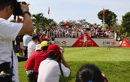 SINGAPORE - FEBRUARY 28:  Karrie Webb of Australia tees off on the first hole during the first round of the HSBC Women's Champions at Tanah Merah Country Club on February 28, 2008 in Singapore.  (Photo by Andrew Redington/Getty Images)