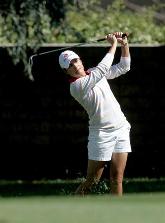 RANCHO MIRAGE, CA - APRIL 01:  Lorena Ochoa of Mexico hits her second shot on the 15th hole during the first round of the Kraft Nabisco Championship at Mission Hills Country Club on April 1, 2010 in Rancho Mirage, California.  (Photo by Stephen Dunn/Getty Images)