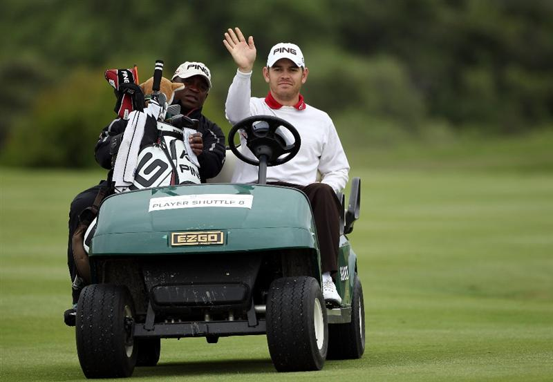CASARES, SPAIN - MAY 18:  Louis Oosthuizen of South Africa waves to the camera during the pro-am of the Volvo World Match Play Championship at Finca Cortesin on May 18, 2011 in Casares, Spain.  (Photo by Warren Little/Getty Images)