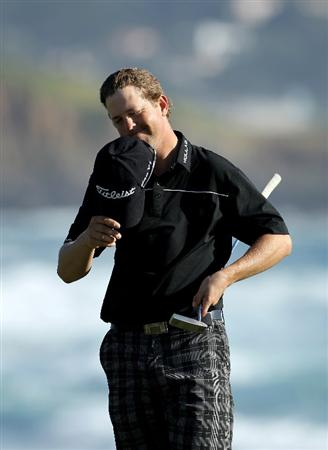 PEBBLE BEACH, CA - FEBRUARY 14:  Bryce Molder reacts after finishing the final round of the AT&T Pebble Beach National Pro-Am at Pebble Beach Golf Links on February 14, 2010 in Pebble Beach, California.  (Photo by Ezra Shaw/Getty Images)