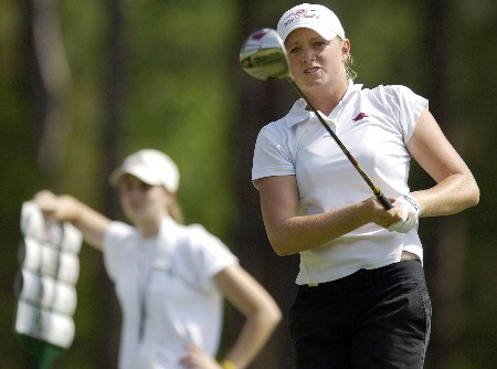 SOUTHERN PINES, NC - JUNE 28:  Stacy Lewis (R) hits her drive from the seventh tee during round one of the U.S. Women's Open Championship at Pine Needles Lodge & Golf Club June 28, 2007 in Southern Pines, North Carolina. (Photo by Jonathan Ernst/Getty Images)
