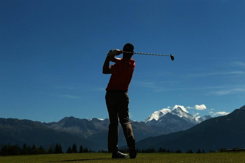 CRANS, SWITZERLAND - SEPTEMBER 04:  Anders Hansen of Denmark tees off on the seventh hole during the third round of The Omega European Masters at Crans-Sur-Sierre Golf Club on September 4, 2010 in Crans Montana, Switzerland.  (Photo by Warren Little/Getty Images)