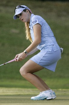 MOBILE, AL - NOVEMBER 10: Tournament leader Paula Creamer reacts to missing a birdie putt on the 17th green during third round play in The Mitchell Company LPGA Tournament of Champions at Magnolia Grove Golf Course on November 10, 2007 in Mobile, Alabama.  (Photo by Dave Martin/Getty Images)
