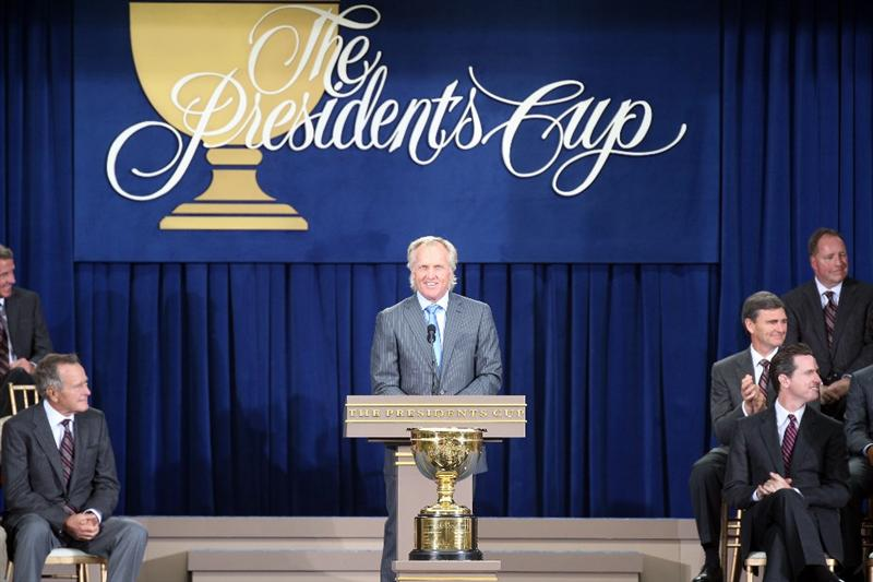 SAN FRANCISCO - OCTOBER 07:  Greg Norman of Australia the Captain of the International Team speaks during the Opening Ceremony for The Presidents Cup at Harding Park Golf Course on October 7, 2009 in San Francisco, California  (Photo by David Cannon/Getty Images)