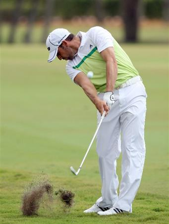 DORAL, FL - MARCH 13:  Sergio Garcia of Spain plays his second shot at the 1st hole during the second round of the World Golf Championships-CA Championship at the Doral Golf Resort & Spa on March 13, 2009 in Miami, Florida  (Photo by David Cannon/Getty Images)