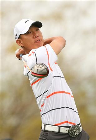 SCOTTSDALE, AZ - FEBRUARY 27: Anthony Kim hits his tee shot on the ninth hole during the third round of the Waste Management Phoenix Open at TPC Scottsdale on February 27, 2010 in Scottsdale, Arizona. (Photo by Hunter Martin/Getty Images)