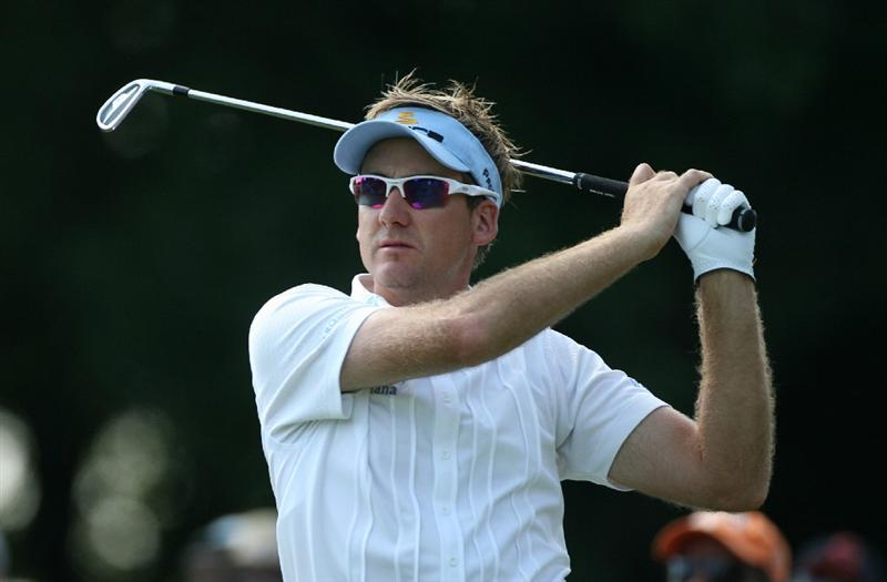 LEMONT, IL - SEPTEMBER 13: Ian Poulter of England watches his tee shot on the second hole during the final round of the BMW Championship at Cog Hill Golf & Country Club on September 13, 2009 in Lemont, Illinois. (Photo by Hunter Martin/Getty Images)