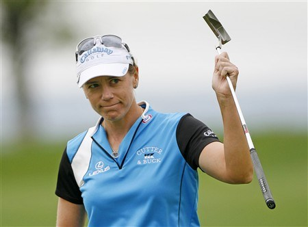 WILLIAMSBURG, VA - MAY 10: Annika Sorenstam of Sweden acknowledges the gallery on the 18th hole after finishing the third round of the Michelob Ultra Open at Kingsmill Resort & Spa on May 10, 2008 in Williamsburg, Virginia. (Photo by Hunter Martin/Getty Images)