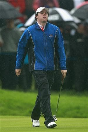 NEWPORT, WALES - OCTOBER 01:  Rory McIlroy of Europe reacts to a missed putt on the second green during the Morning Fourball Matches during the 2010 Ryder Cup at the Celtic Manor Resort on October 1, 2010 in Newport, Wales.  (Photo by Andrew Redington/Getty Images)