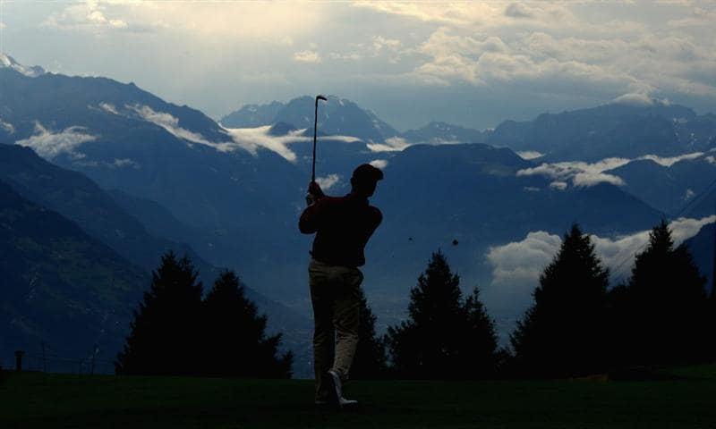 CRANS, SWITZERLAND - SEPTEMBER 04:  Ignacio Garrido of Spain plays his second shot on the 17th hole during the first round of the Omega European Masters at Crans-Sur-Sierre Golf Club on September 4, 2008 in Crans Montana, Switzerland.  (Photo by Andrew Redington/Getty Images)