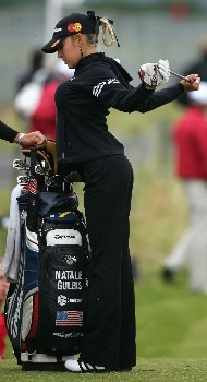 ST ANDREWS, UNITED KINGDOM - AUGUST 05:  Natalie Gulbis of USA stretches during the Final Round of the 2007 Ricoh Women's British Open held on the Old Course at St Andrews on August 5, 2007 in St Andrews, Scotland. (Photo by Warren Little/Getty Images)