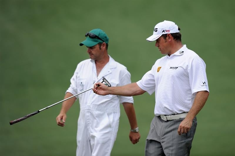 AUGUSTA, GA - APRIL 09:  Lee Westwood of England waits with his caddie Billy Foster on the second hole during the third round of the 2011 Masters Tournament at Augusta National Golf Club on April 9, 2011 in Augusta, Georgia.  (Photo by Harry How/Getty Images)