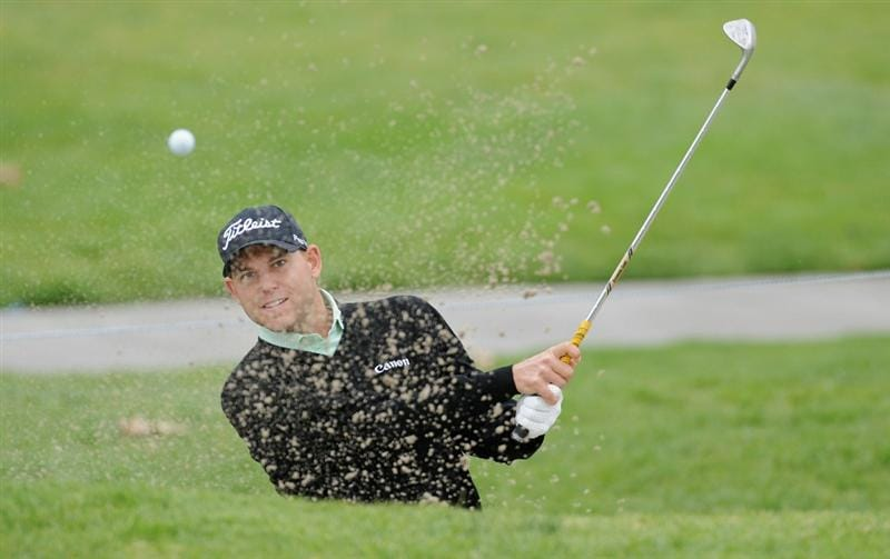 PACIFIC PALISADES, CA - FEBRUARY 18:  Bill Haas plays his bunker shot on the 15th hole during the second round of the Northern Trust Open at Riviera Country Club on February 18, 2011 in Pacific Palisades, California.  (Photo by Stuart Franklin/Getty Images)