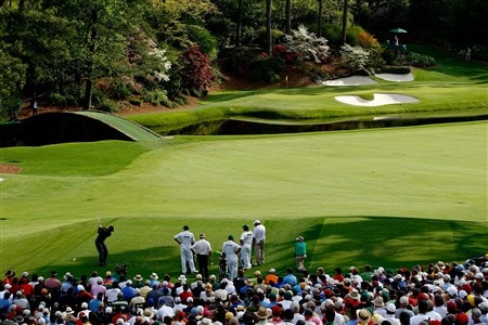AUGUSTA, GA - APRIL 11:  Tiger Woods hits his tee shot on the 12th hole during the second round of the 2008 Masters Tournament at Augusta National Golf Club on April 11, 2008 in Augusta, Georgia.  (Photo by Jamie Squire/Getty Images)