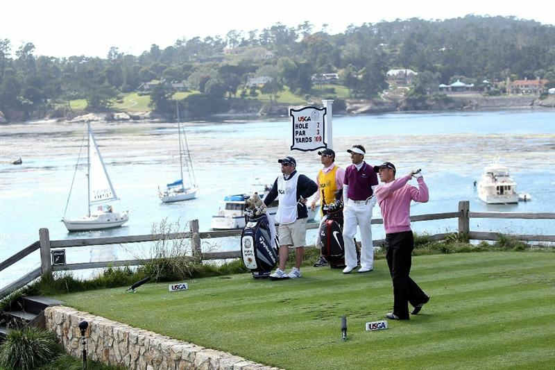 PEBBLE BEACH, CA - JUNE 19:  Martin Kaymer of Germany hits his tee shot on the seventh hole during the third round of the 110th U.S. Open at Pebble Beach Golf Links on June 19, 2010 in Pebble Beach, California.  (Photo by Andrew Redington/Getty Images)