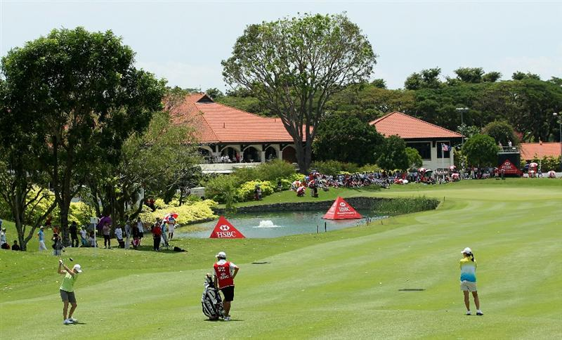 SINGAPORE - FEBRUARY 26:  Karrie Webb of Australia plays her second shot on the ninth hole during the third round of the HSBC Women's Champions at the Tanah Merah Country Club on February 26, 2011 in Singapore.  (Photo by Andrew Redington/Getty Images)