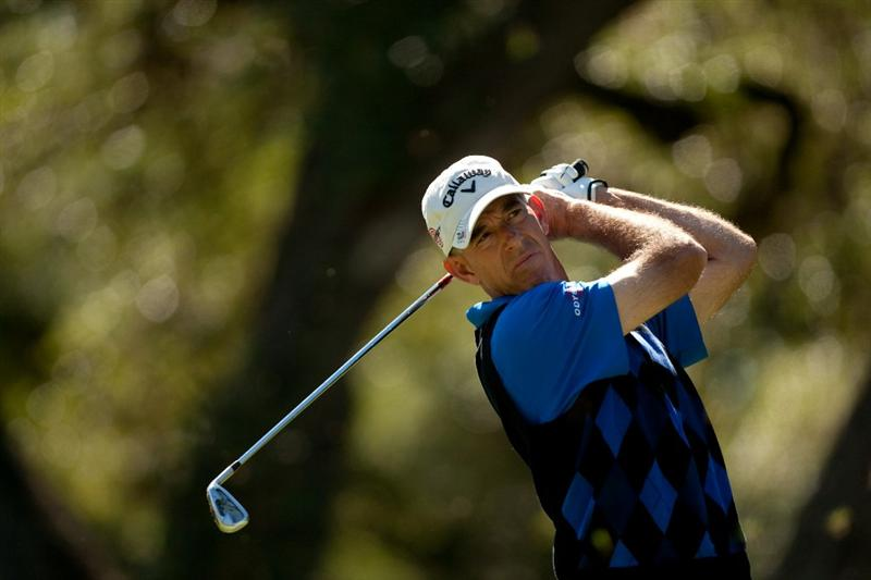 SAN ANTONIO, TX - OCTOBER 30: Chip Beck follows through on a tee shot during the second round of the AT&T Championship at Oak Hills Country Club on October 30, 2010 in San Antonio, Texas. (Photo by Darren Carroll/Getty Images)