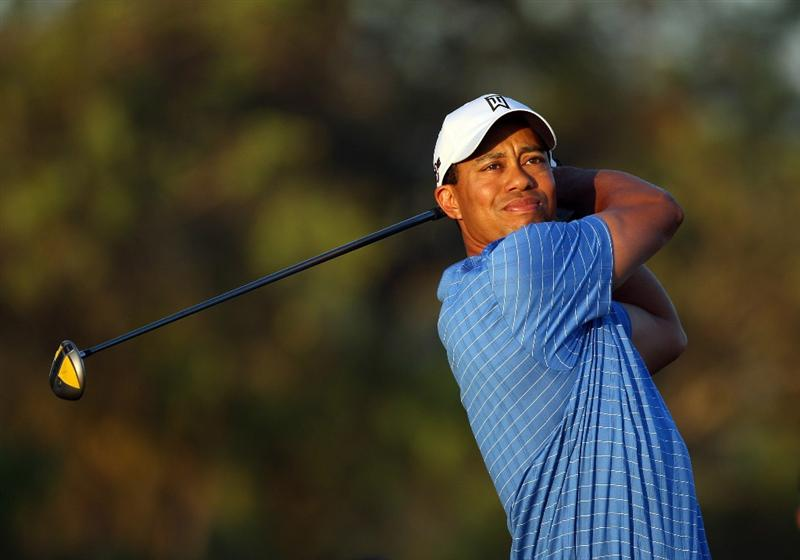 DORAL, FL - MARCH 11:  Tiger Woods of the USA drives from the 5th tee during the final day of practice for the World Golf Championships-CA Championship at the Doral Golf Resort & Spa on March 11, 2009 in Miami, Florida  (Photo by David Cannon/Getty Images)