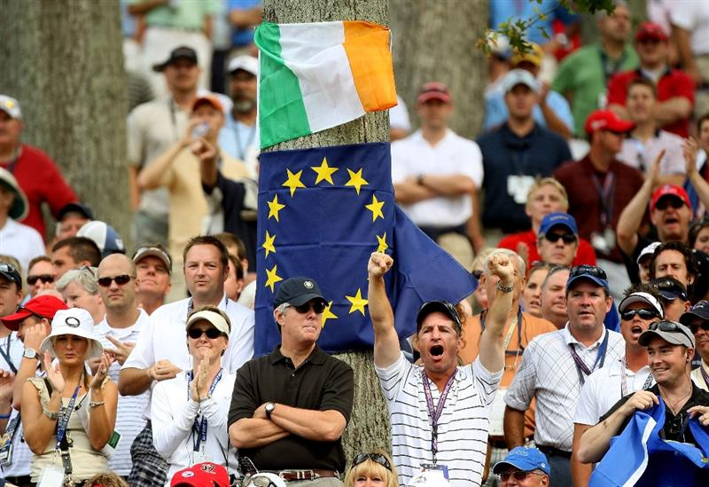 LOUISVILLE, KY - SEPTEMBER 20:  Golf fans attend during the morning foursome matches on day two of the 2008 Ryder Cup at Valhalla Golf Club on September 20, 2008 in Louisville, Kentucky.  (Photo by David Cannon/Getty Images)