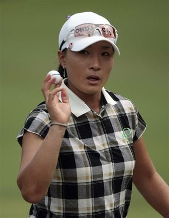 MOBILE, AL - MAY 14:  Se Ri Pak of South Korea waves after completing her second round play in the Bell Micro LPGA Classic at the Magnolia Grove Golf Course on May 14, 2010 in Mobile, Alabama.  (Photo by Dave Martin/Getty Images)
