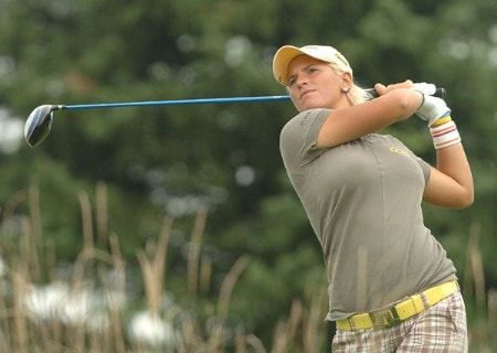 Nicole Perrot in action during the second round of the LPGA's Wendy's Championship For Children at Tartan Fields Golf Club in Dublin, Ohio August 26, 2005.Photo by Steve Grayson/WireImage.com