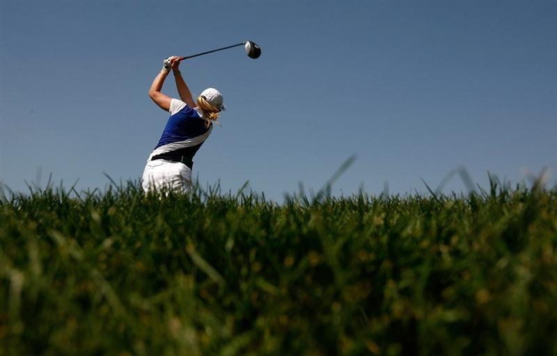DANVILLE, CA - SEPTEMBER 27:  Morgan Pressel tees off on the 6th hole during the final round of the CVS/pharmacy LPGA Challenge at Blackhawk Country Club on September 27, 2009 in Danville, California.  (Photo by Jonathan Ferrey/Getty Images)