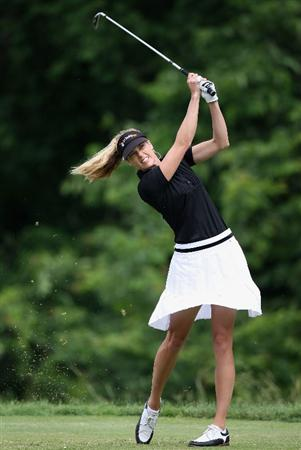 SPRINGFIELD, IL - JUNE 07:  Anna Rawson of Australia hits a tee shot on the second hole during the fourth round of the LPGA State Farm Classic golf tournament at Panther Creek Country Club on June 7, 2009 in Springfield, Illinois.  (Photo by Christian Petersen/Getty Images)
