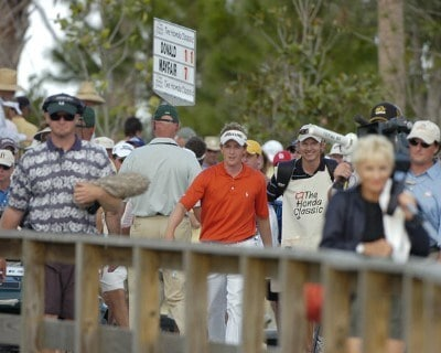 Luke Donald marches across a wood bridge from the 15th green during the final round of the 2006 Honda Classic March 12 at the Country Club at Mirasol in Palm Beach Gardens, Florida.Photo by Al Messerschmidt/WireImage.com
