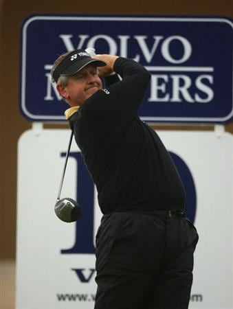 SOTOGRANDE, SPAIN - NOVEMBER 01:  Colin Montgomerie of Scotland hits his tee-shot on the tenth hole during the second round of the Volvo Masters at Valderrama Golf Club on November 1, 2008 in Sotogrande, Spain.  (Photo by Andrew Redington/Getty Images)