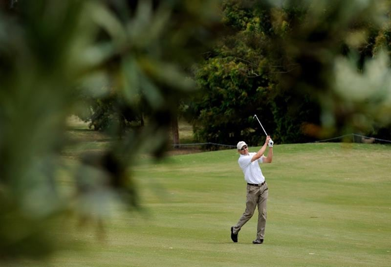 MELBOURNE, AUSTRALIA - NOVEMBER 27: Jarmo Sandelin of Sweden hits a shot off the 8th fairway during the first round of the 2008 Australian Masters at Huntingdale Golf Club on November 27, 2008 in Melbourne, Australia  (Photo by Robert Cianflone/Getty Images)