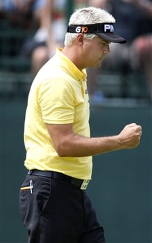 GRAND BLANC, MI - JUNE 27: Daniel Chopra from Sweden pumps his fist after making a par saving putt on the ninth hole during the second round of the Buick Open at Warwick Hills Golf and Country Club on June 27, 2008 in Grand Blanc, Michigan.  (Photo by Gregory Shamus/Getty Images)