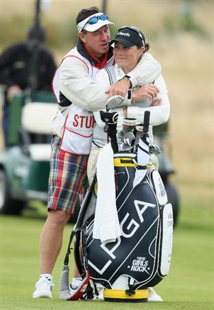LYTHAM ST ANNES, UNITED KINGDOM - JULY 31:  Karen Stupples is hugged by her husband/caddie Dave Stodart during the second round of the 2009 Ricoh Women's British Open Championship held at Royal Lytham St Annes Golf Club, on July 31, 2009 in  Lytham St Annes, England. (Photo by David Cannon/Getty Images)
