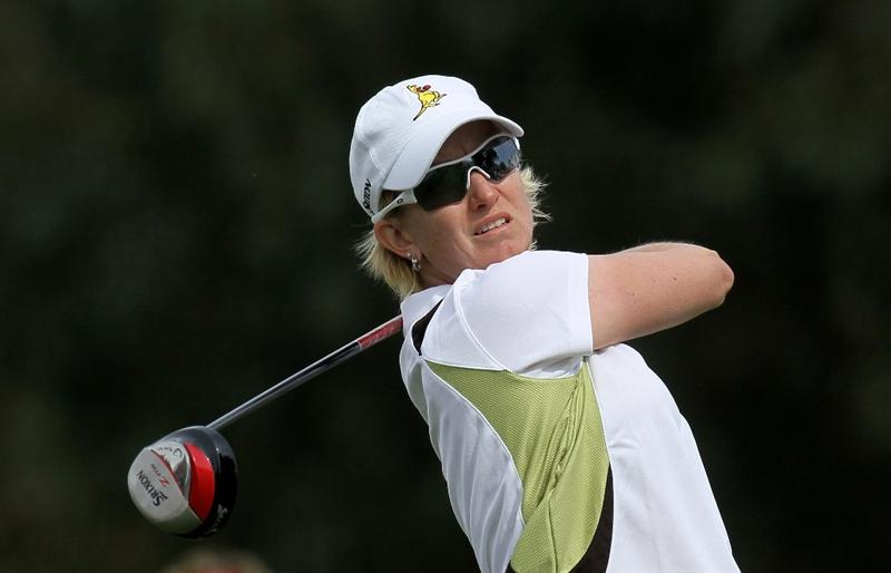 RANCHO MIRAGE, CA - APRIL 2:  Karrie Webb of Australia hits her tee shot on the 16th hole during the second round of the Kraft Nabisco Championship at Mission Hills Country Club on April 2, 2010 in Rancho Mirage, California.  (Photo by Stephen Dunn/Getty Images)