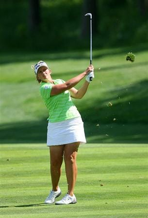 GLADSTONE, NJ - MAY 22: Angela Stanford hits her third shot on the eleventh hole during the third round of the Sybase Match Play Championship at Hamilton Farm Golf Club on May 22, 2010 in Gladstone, New Jersey. (Photo by Hunter Martin/Getty Images)