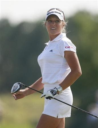 PRATTVILLE, AL - OCTOBER 1:  Natalie Gulbis watches her drive from the 10th tee during first round play in the Navistar LPGA Classic at the Robert Trent Jones Golf Trail at Capitol Hill on October 1, 2009 in  Prattville, Alabama.  (Photo by Dave Martin/Getty Images)