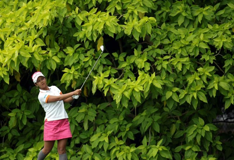 SINGAPORE - FEBRUARY 24:  Ai Miyazato of Japan during the first round of the HSBC Women's Champions at Tanah Merah Country Club  on February 24, 2011 in Singapore, Singapore.  (Photo by Ross Kinnaird/Getty Images)