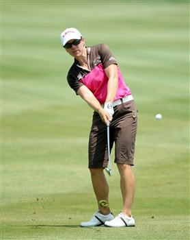 HAVRE DE GRACE, MD - JUNE 07: Annika Sorenstam of Sweden hits her second shot at the 1st hole during the third round of the 2008 McDonald's LPGA Championship held at Bulle Rock Golf Course, on June 7, 2008 in Havre de Grace, Maryland.  (Photo by David Cannon/Getty Images)