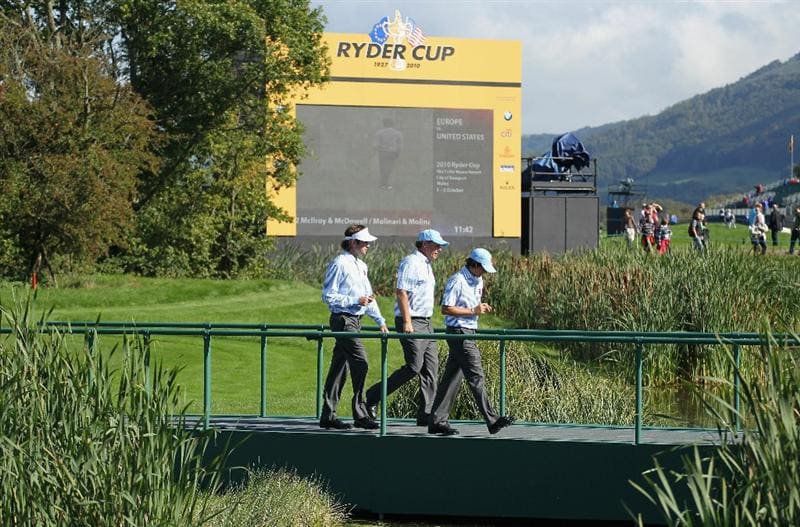 NEWPORT, WALES - SEPTEMBER 28:  (L-R)  Bubba Watson; Phil Mickelson, Rickie Fowler of the USA walk together during a practice round prior to the 2010 Ryder Cup at the Celtic Manor Resort on September 28, 2010 in Newport, Wales.  (Photo by Andy Lyons/Getty Images)