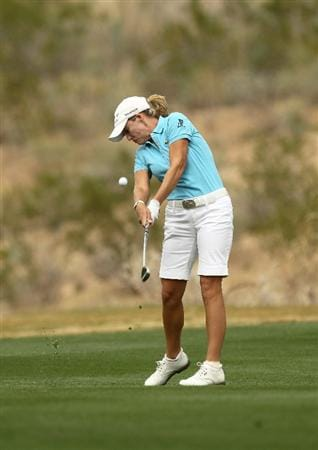 PHOENIX, AZ - MARCH 20: Cristie Kerr hits her second shot on the seventh hole during the final round of the RR Donnelley LPGA Founders Cup at Wildfire Golf Club on March 20, 2011 in Phoenix, Arizona. (Photo by Stephen Dunn/Getty Images)