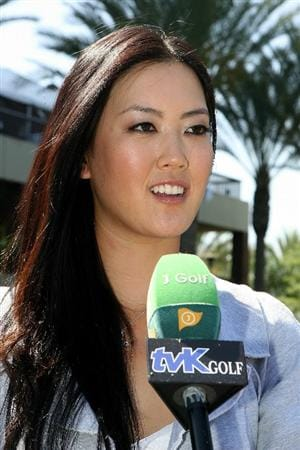 CITY OF INDUSTRY, CA - SEPTEMBER 18:  Michelle Wie speaks to the media after a press conference to announce the Kia Classic LPGA event to be held in March of 2011 on September 18, 2010 at Industry Hills Golf Club at Pacific Palms in City of Industry, California.  (Photo by Jeff Golden/Getty Images)