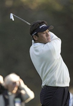 Shigeki Maruyama hitting off the third tee during the final round of The World Golf Championships 2005 American Express Championship at Harding Park Golf Club in San Francisco, California on October 9, 2005.Photo by Stan Badz/PGA TOUR/WireImage.com