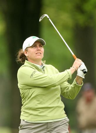 CLIFTON, NJ - MAY 16 : Moira Dunn hits her second shot on the 6th hole during the third round of the Sybase Classic presented by ShopRite at Upper Montclair Country Club on May 16, 2009 in Clifton, New Jersey. (Photo by Hunter Martin/Getty Images)