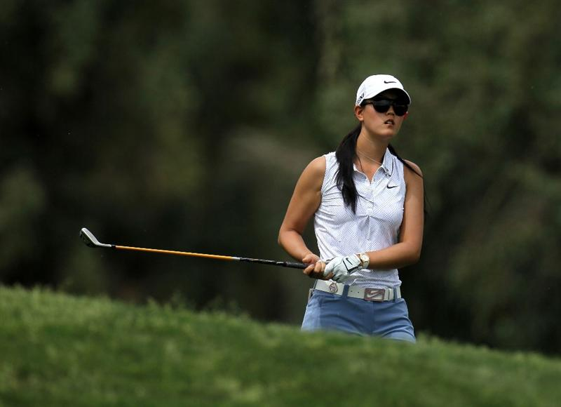 RANCHO MIRAGE, CA - APRIL 02:  Michelle Wie watches her second shot on the second hole during the third round of the Kraft Nabisco Championship at Mission Hills Country Club on April 2, 2011 in Rancho Mirage, California.  (Photo by Stephen Dunn/Getty Images)
