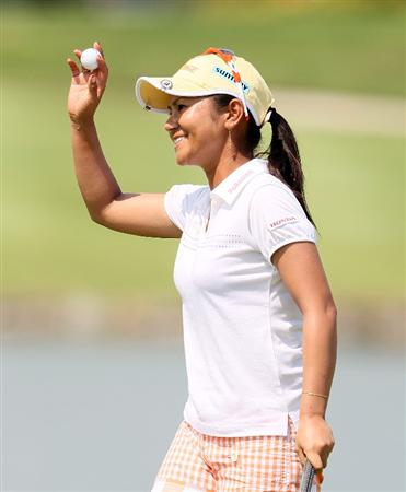 SINGAPORE - FEBRUARY 28:  Ai Miyazato of Japan is waves to the crowd after winning the HSBC Women's Champions at Tanah Merah Country Club on February 28, 2010 in Singapore, Singapore.  (Photo by Andy Lyons/Getty Images)