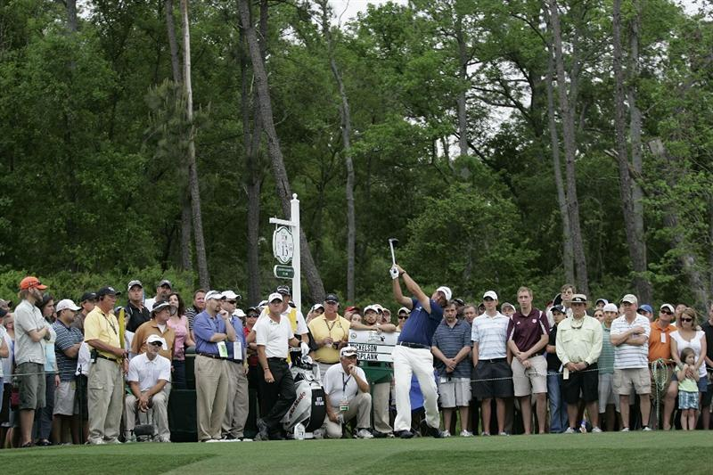 HUMBLE, TX - APRIL 03:  Phil Mickelson hits his drive on the 13th tee box during the final round of the Shell Houston Open at Redstone Golf Club on April 3, 2011 in Humble, Texas.  (Photo by Michael Cohen/Getty Images)