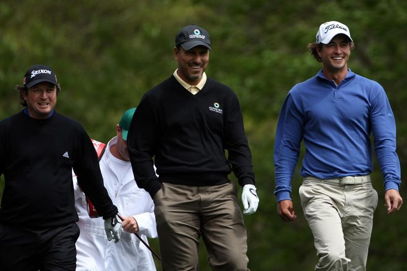 AUGUSTA, GA - APRIL 06:  (L-R) Tim Clark of South Africa, Jeev Milkha Singh of India and Adam Scott of Australia share a laugh during a practice round prior to the 2009 Masters Tournament at Augusta National Golf Club on April 6, 2009 in Augusta, Georgia.  (Photo by Andrew Redington/Getty Images)