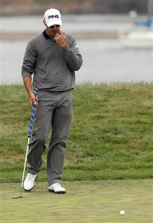 PEBBLE BEACH, CA - JUNE 20:  Gregory Havret of France reacts to his missed par putt on the 17th green during the final round of the 110th U.S. Open at Pebble Beach Golf Links on June 20, 2010 in Pebble Beach, California.  (Photo by Andrew Redington/Getty Images)