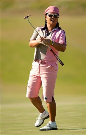 PRATTVILLE, AL - OCTOBER 8: Christina Kim reacts to a missed putt during the second round of the Navistar LPGA Classic at the Senator Course at the Robert Trent Jones Golf Trail on October 8, 2010 in Prattville, Alabama. (Photo by Darren Carroll/Getty Images)